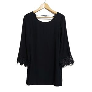 Doe & Rae Black Embrodered Bell Sleeve Dress Size Xs